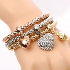 Women's 3 Pieces Charm Bracelet Set